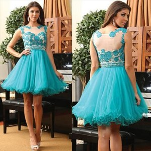 Teal Illusion Lace Embellished Beaded Knee Length Formal Dress