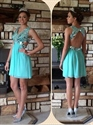 Turquoise V-Neck Open Back Empire Waist Beaded Cocktail Dress