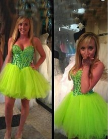 Light Green Strapless Beaded Bodice Short Mini Party Dress