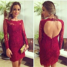 Burgundy Backless Long Sleeve Lace Sheath Short Party Dress