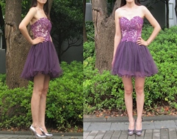 Grape Strapless Lace Embellished Bodice Short Bridesmaid Dress