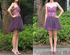Grape Strapless Lace Embellished Bodice Short Bridesmaid Dress