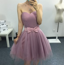 Silver Pink Strapless Short Tulle Bridesmaid Dresses With Bow Front