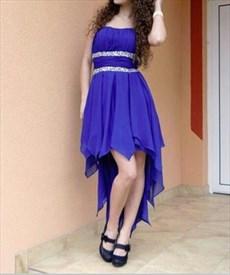 Royal Blue Strapless Beaded Waist Short High Low Bridesmaid Dress