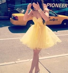 Yellow Strapless Beaded Bodice Empire Waist Short Bridesmaid Dresses