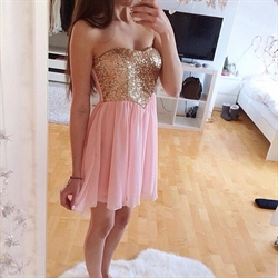 Pink Sequin Embellished Bodice Short Chiffon Bridesmaid Dress