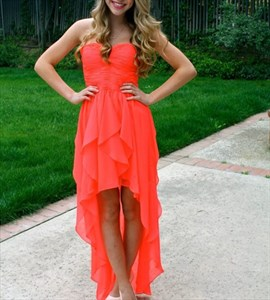Coral Strapless Ruched Bodice Chiffon High Low Bridesmaid Dress