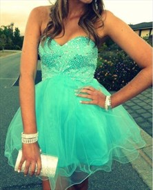 Turquoise Strapless Sweetheart Short Beaded Tulle Party Dress
