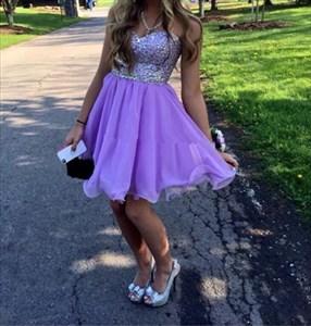 Lavender Strapless Sweetheart Beaded Bodice Short Bridesmaid Dress