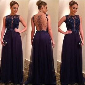 Navy Blue Beaded Lace Embellished Sheer Back Long Evening Dress