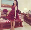 Burgundy Short Sleeveless Lace Embellished Tulle Party Dress