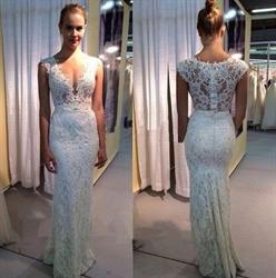 Ivory V Neck Sheer Backless Lace Mermaid Long Wedding Dress