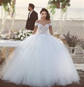White Off The Shoulder Lace Embellished Ball Gown Wedding Dress