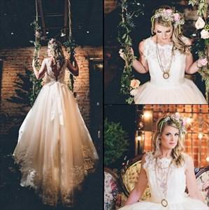 Vintage Ivory Lace Top Sleeveless Open Back Long Wedding Dress