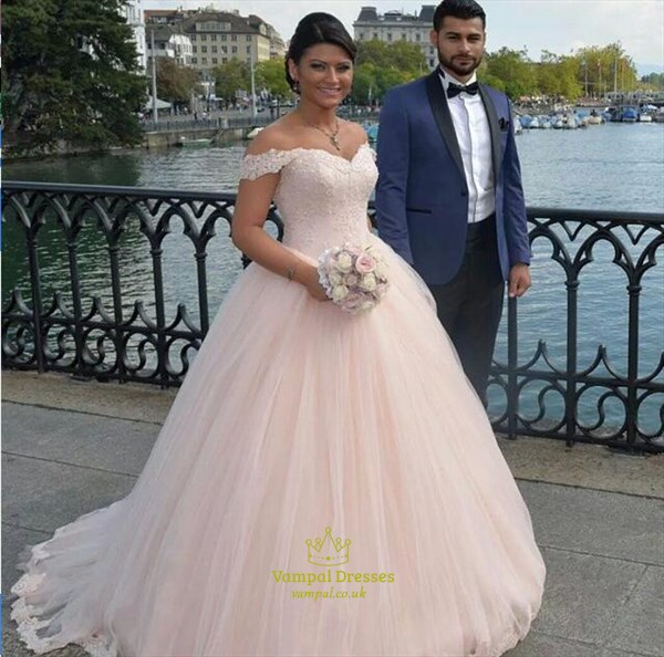 Blush Pink Off The Shoulder Lace Embellished Ball Gown Wedding Dress