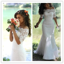 White Off The Shoulder Lace Mermaid Wedding Dress With Half Sleeves