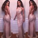 Blush Pink Sheer Lace Applique Sheath Embellished Prom Dress