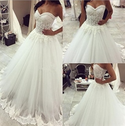 White Sweetheart Strapless Lace Bodice Ball Gown Wedding Dress