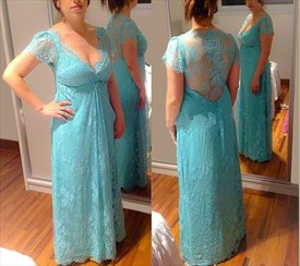 Baby Blue Cap Sleeve Long Empire Waist Lace Mother Of The Bride Dress