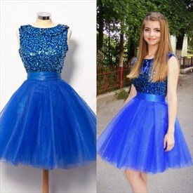 Royal Blue Sleeveless Sequin Embellished Top Short Homecoming Dress