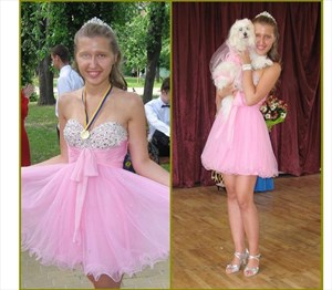 Pink Short Strapless Beaded Bodice Ruched Empire Waist Party Dress
