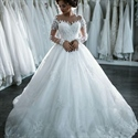 White Sheer Lace Applqiue Long Sleeve Ball Gown Wedding Dress