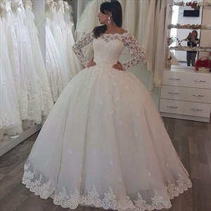 Ivory Luxury Embellished Lace Long Sleeve Ball Gown Wedding Dress