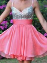 Coral Sweetheart Beaded Top Short Homecoming Dress With Straps