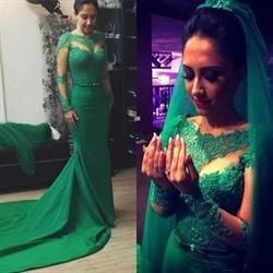 Emerald Green Sheer Long Sleeve Lace Wedding Dress With Train