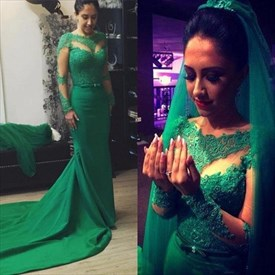 Emerald Green Sheer Long Sleeve Lace Wedding Dress With Train