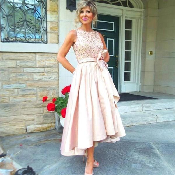 Blush Pink Beaded Bodice Sleeveless Short High Low Bridesmaid Dress