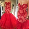 Red Strapless Lace Embellished Top Dropped Waist Mermaid Wedding Dress