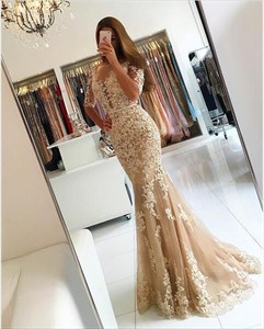 Peach Sheer Lace Applique Half Sleeve Formal Dress With Sheer Bottom