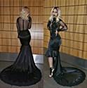 Black Sheer Long Sleeve Short Sheath Prom Dress With Long Train