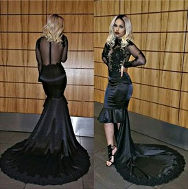 Black Sheer Long Sleeve Short Sheath Prom Dress With Long Train