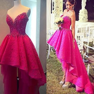 Hot Pink Strapless Short Lace Beaded High Low Wedding Dress