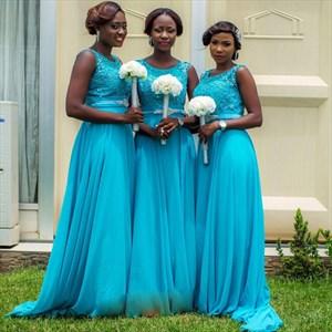 Aqua Blue Beaded Lace Embellished Chiffon Skirt Bridesmaid Dress