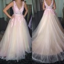 Blush Pink V Neck Lace Applique Tulle Ball Gown Wedding Dress