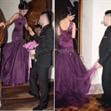 Grape High Neck Embellished Long Backless Mermaid Wedding Dress