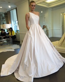 Simple Ivory One Shoulder Ball Gown Wedding Dress With Pockets