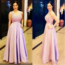 Lilac Beaded Bodice V-Neck Sleeveless Floor Length Prom Dress