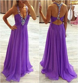 Lavender V-Neck Beaded Ruched Bodice Backless Chiffon Evening Dress