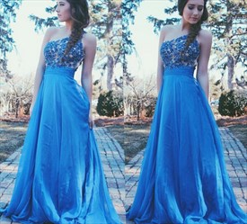 Aqua Blue One Shoulder Lace Bodice A Line Long Bridesmaid Dress