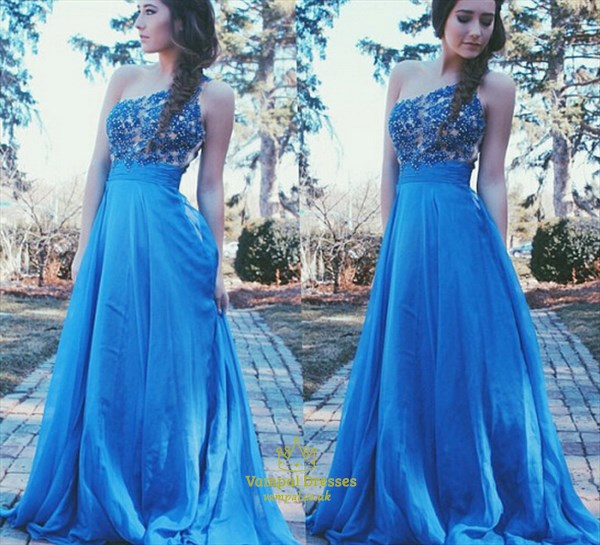 Aqua Blue One Shoulder Lace Bodice A Line Long Bridesmaid