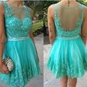 Turquoise Beaded Lace Embellished Sheer Back Short Cocktail Dress