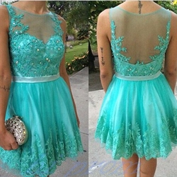 Turquoise Beaded Lace Embellished Sheer Back Short Cocktail Dress
