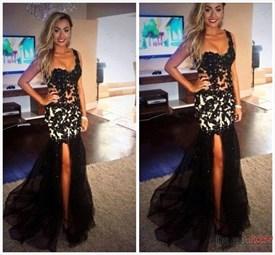 Black Sheer Lace Applique Bodice Split Side Long Prom Dress