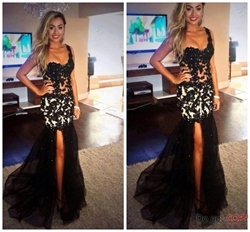 Black Sheer Lace Applique Bodice Split Side Long Prom Dress