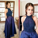 Two Piece Navy Blue High Neck Halter Beaded Bodice Long Prom Dress