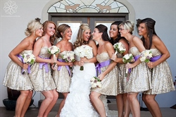 Sparkly Short Strapless Sequin Embellished Bridesmaid Dresses